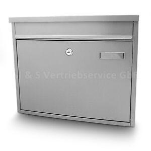 Briefkasten-Grau-Post-Briefkasten-Wandbriefkasten-Hausbriefkasten-Postkasten