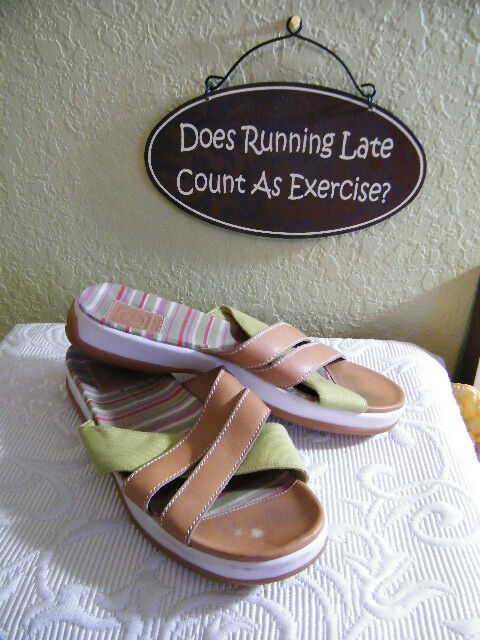 COLE HAAN LEATHER SANDALS SiZE 9.5 LEATHER HAAN & FABRIC SLIDES c291fb