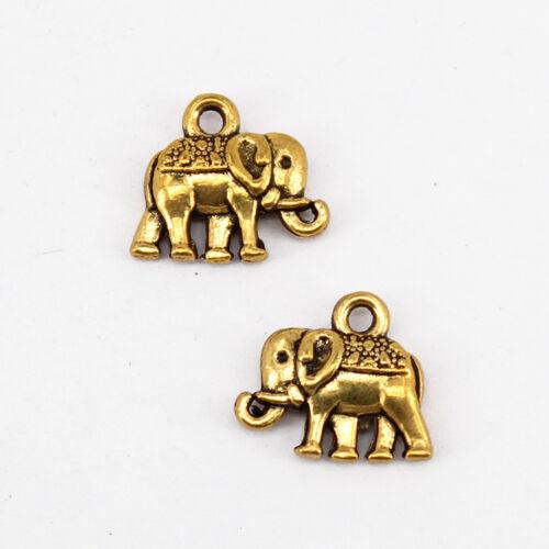 Tibetan Jewellery Charms Pendants 20-200pcs 12x14mm Antique Bronze Elephant
