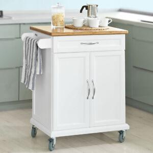 SoBuy® Carrello di servizio, Credenza da cucina,con due ante,bianco ...