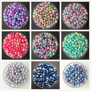 NEW-4mm-6mm-8mm-10mm-Acrylic-No-Hole-Round-Pearl-Loose-Beads-Jewelry-Making