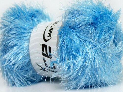 100 gram skein Baby Blue Eyelash Glitz #46562 Ice Sparkly Eyelash Yarn 153 yards