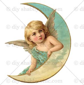 Meubles Décalque Transfert de l/'image vintage ange cupidon Moon Étiquettes Amour Fabrication Carte