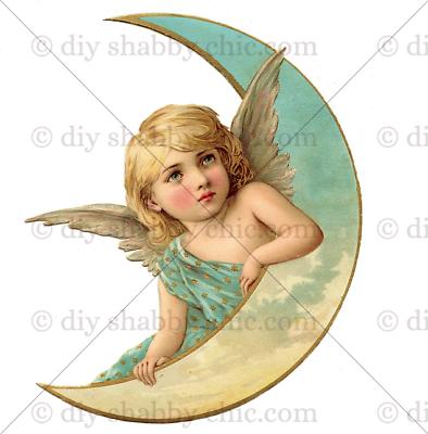 Furniture Decal Image Transfer Vintage Angels Cupid Cherub Wings Saint Pink Art