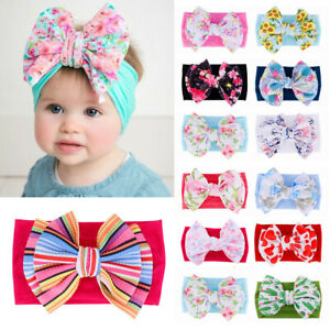 Printed-Hairband-Newborn-Headwraps-Baby-Nylon-Headband-Knot-Turban-Big-Bow
