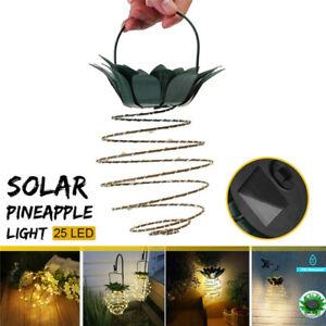 4X-25-LED-Solar-Powered-Pineapple-Light-Hanging-Fairy-String-Waterproof-W