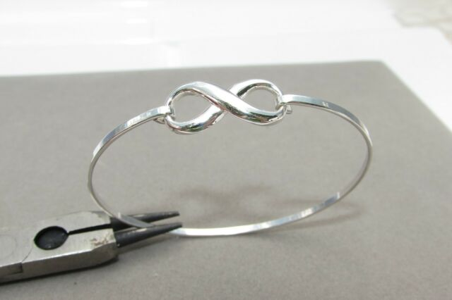 Infinity Friendship Love 925 Sterling Silver Bangle Bracelet Cuff