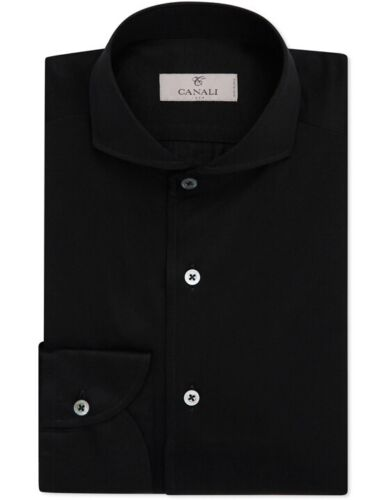 Canali Black Cotton Shirt Made in Italy Oxford But