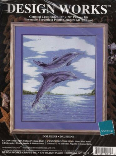 """DOLPHINS"" Vanishing Species Counted Cross Stitch Kit by DESIGN WORKS"