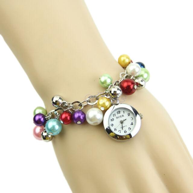 Vogue Women Quartz Charms Colorful Pearl Bracelet Round Dial Wrist Analog Watch