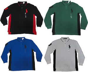 Mens Long Rugby Sleeve Ralph Shirt Polo Black About Lauren Blue Green White Big Details Pony 354ARjL