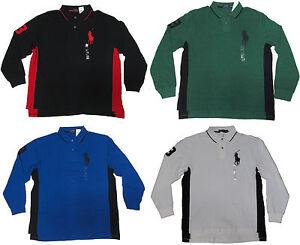 Ralph-Lauren-Mens-Black-Blue-Green-White-Long-Sleeve-Big-Pony-Rugby-Polo-Shirt