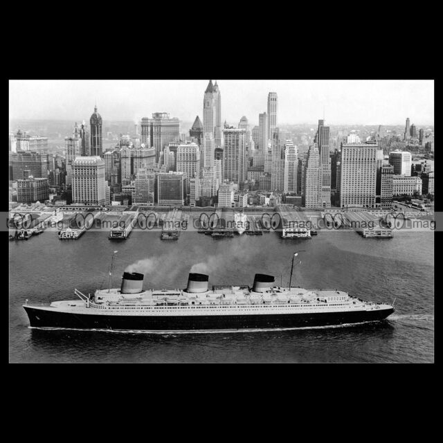 #php.01651 Photo SS NORMANDIE CGT PAQUEBOT OCEAN LINER NEW YORK