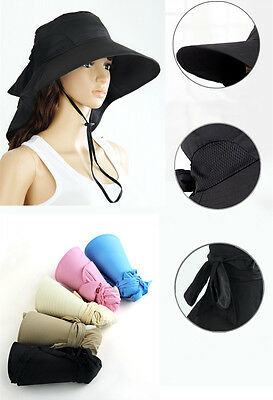 New Womens Foldable Sun Hat Wide Brim Floppy Bow Self-tie Summer Beach Cap