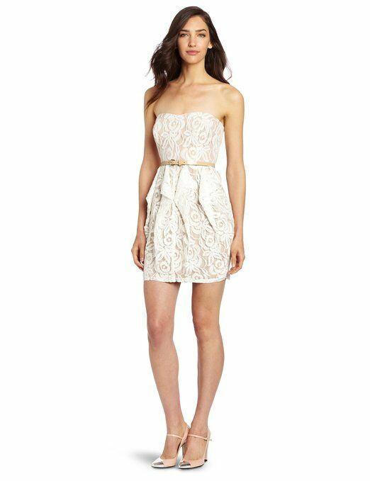 Jessica Simpson Strapless Nude Ivory Lace Belted Dress Size 8