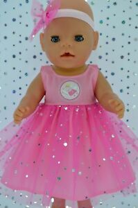 Play-n-Wear-Dolls-Clothes-To-Fit-17-034-Baby-Born-PINK-SEQUIN-DRESS-HEADBAND