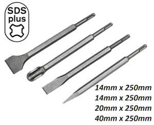 SILVER-SET-OF-4-SDS-PLUS-CHISEL-250MM-for-BOSCH-HILTI-HITACHI-MAKITA-AEG