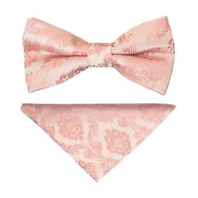 Pre Tied Rose Gold Paisley Boys Bow Tie and Pocket Square Set Dickie Bow Hanky