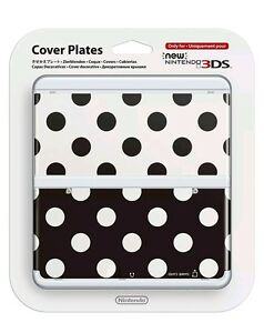 New-Nintendo-3DS-Cover-Plates-No-015-Lunares-Negro-y-Blanco-Carcasa-NEW