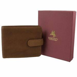 Mens-Tan-Leather-Wallet-Tabbed-Bi-Fold-Visconti-Darwin-Range-Change-Gift-Boxed