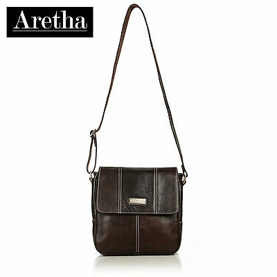 New Aretha Italy Genuine Leather Men shoulder messenger Satchel Handbags Coffee