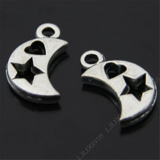 20pc Retro Tibetan Silver Star Moon Heart Pendant Charms Beads Findings B407P