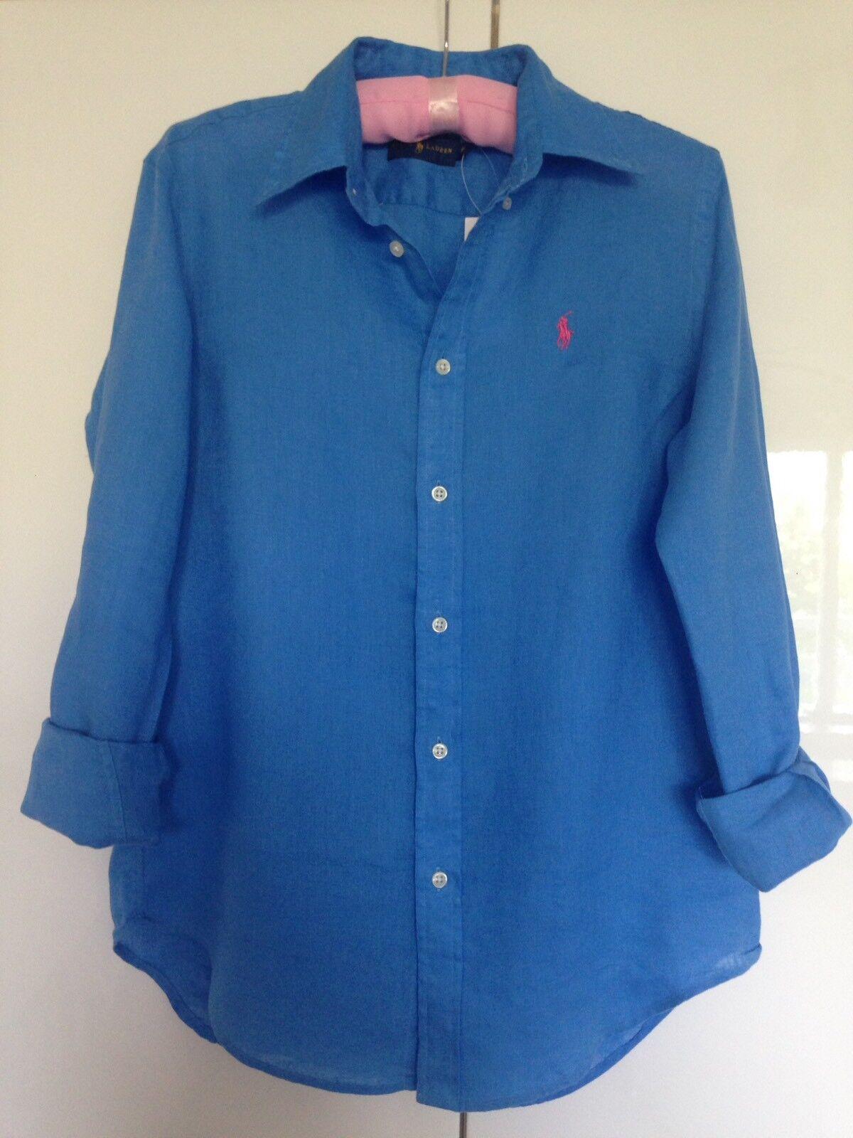Ralph Lauren Blau Linen Shirt Sz XS  RRP  NEW