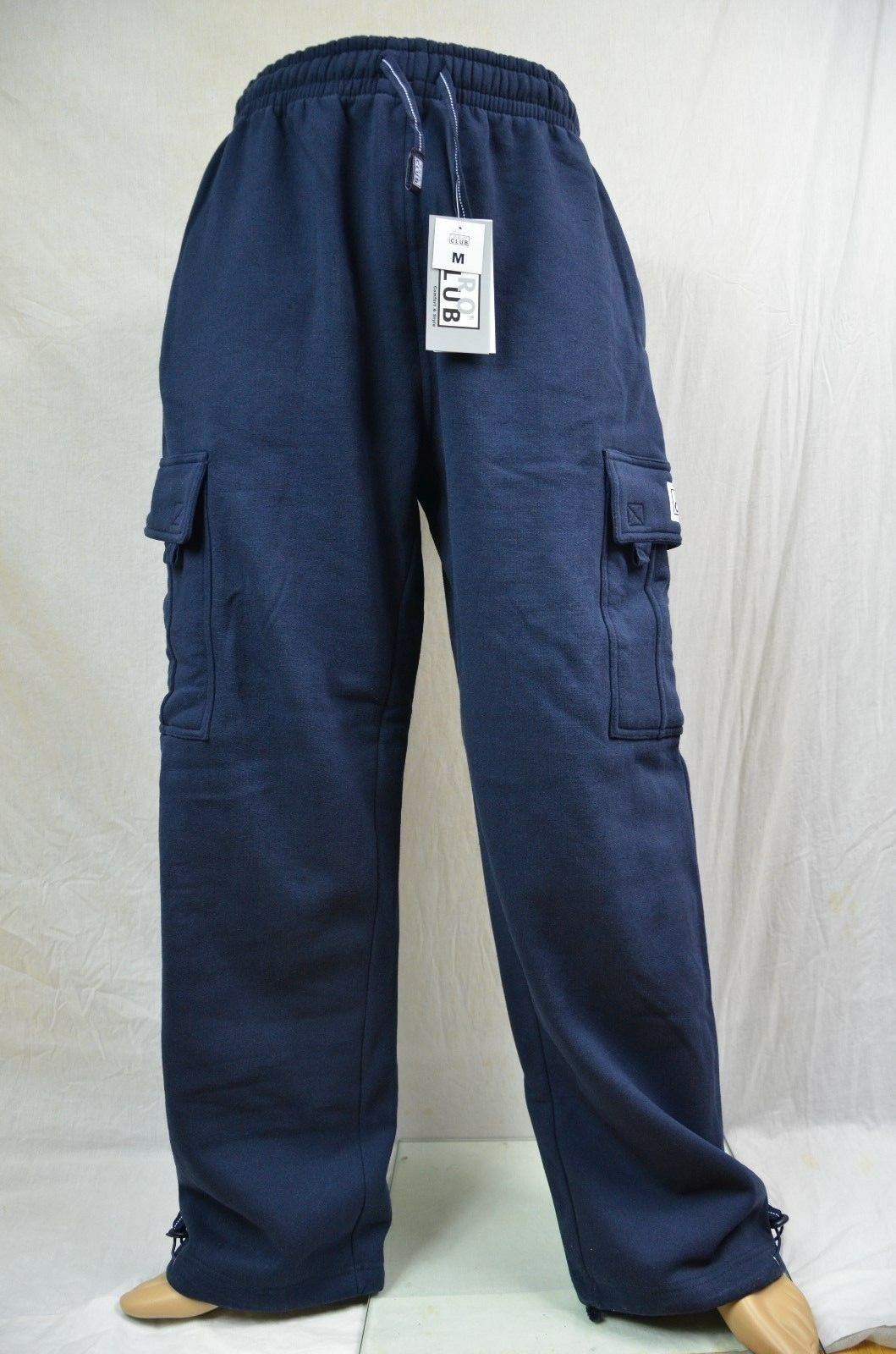 Pro Club Fleece Cargo Sweatpants Navy bluee Heavy Weight Jogging Mens S-7XL