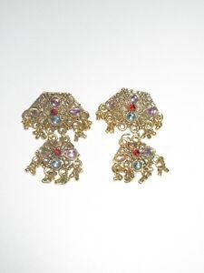 Chandelier-Dangle-Earrings-Genuine-Colored-Rhinestone-Jeweled-Gold-Tone-Vintage
