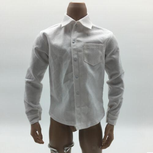 Weißes Langärmliges Smokinghemd Krawatte 1//6 Skala 12 /'/' Kleidungszubehör