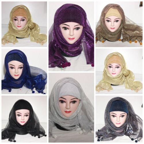 Hijab schal Kopftuch mit Glänzend Schimmer Glitzer Hochzeit Glitter