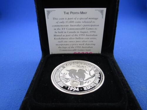 1994 $1 1oz Silver Kookaburra Coin Privy Mark LOGO COMMONWEALTH GAMES in Wallet