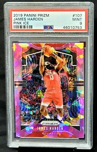 2019-Prizm-PINK-ICE-REFRACTOR-Rockets-JAMES-HARDEN-Card-PSA-9-MINT-Low-Pop-8