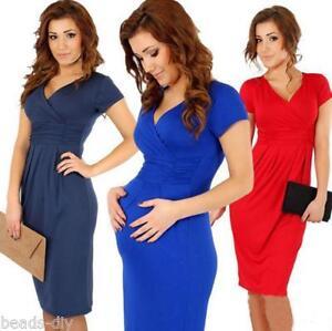 Maternity-Pregnancy-Stretch-Elastic-Bodycon-Long-Midi-Dress-Party-Casual-Solid