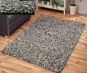 THICK-FLUFFY-CHUNKY-FELTED-WOOL-PILE-GREY-MIX-LONG-SOFT-SHAGGY-HIGH-QUALITY-RUG