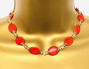 Vtg Retro 50s Cherry Red Stone Choker Necklace Costume Jewellery