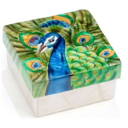 Peacock Capiz Jewelery Trinket Keepsake Box Container Bird Wildlife Decoration