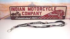 LANYARD ID Badge Key Holder American INDIAN Motorcycles Black Logo Licensed   X2