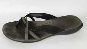 104718386 PRIVO by Clarks Black Gray Thong Sandals Flip Flops Wedge Womens 9.5 ...