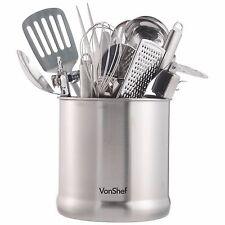 """VonShef 7"""" Stainless Steel Kitchen Utensil Cutlery Holder Storage Jar Pot"""