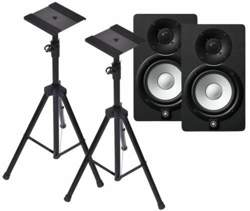 Yamaha HS5 Powered Studio Monitor Pair with Heavy Duty Speaker Tripods