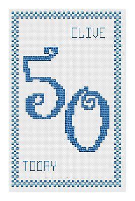 50e anniversaire Blue Cross Stitch Kit de carte par florashell