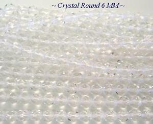 50 Crystal Faceted Round Czech Glass Beads 6MM
