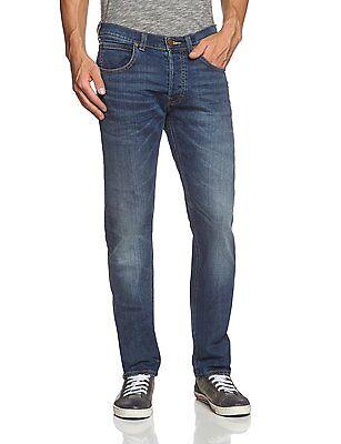 Lee Brooklyn New Men/'s Vintage Stretch Jeans Electric Blue Faded Denim Pants