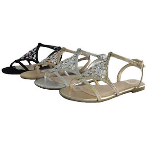 52c16721b02ba1 Details about BAMBOO CALEB-35 Women s Rhinestone Accent Ankle Strap Flat  Sandals New In Box