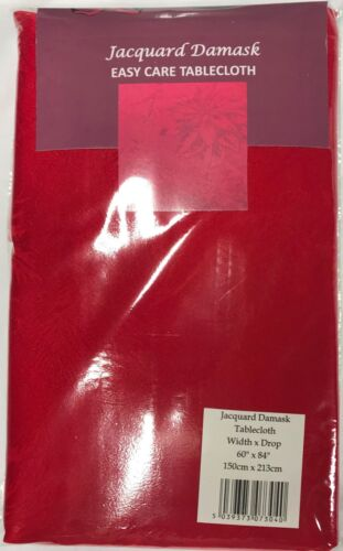 Red Damask Jacquard Christmas Tablecloths,100 /% Polyester 5 sizes