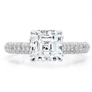 3.10 Ct Asscher Cut Moissanite Anniversary Ring 14K Solid White Gold ring Size 8