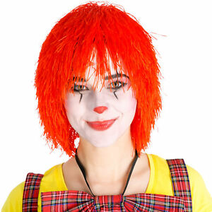 Perruque-de-clown-afro-boucles-rouge-carnaval-halloween-hippie-pop-star-costume
