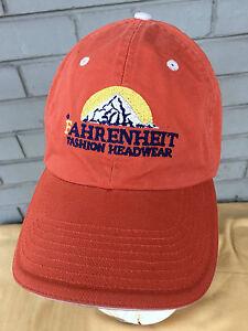 Image is loading Fahrenheit-Fashion-Headwear -Mountains-Strapback-Orange-Baseball-Cap- 9652be47ca9
