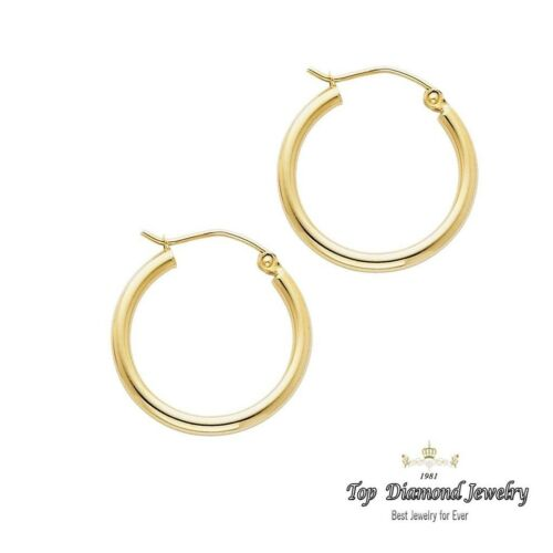 14k Yellow Gold Polished 2mm Round Hoop Earrings 20mm Diameter